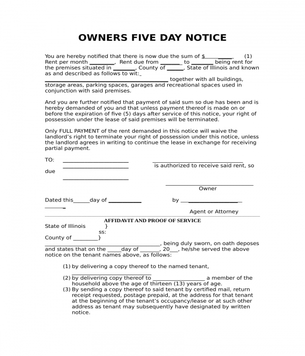 owners five day notice form