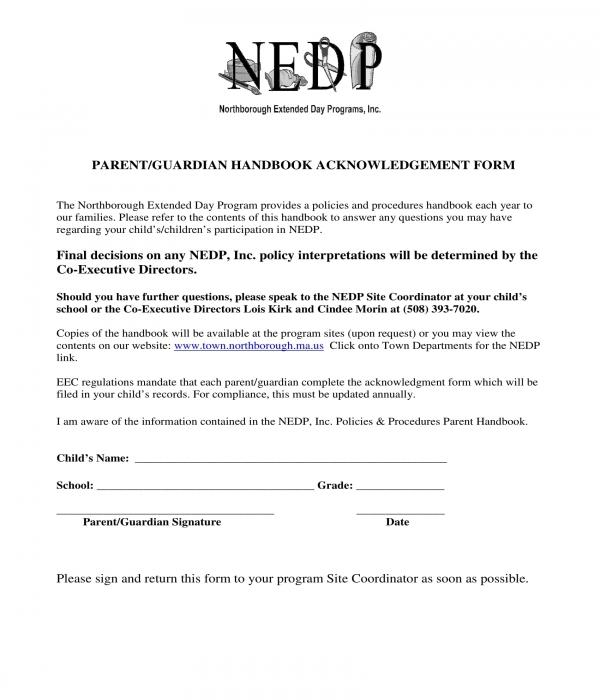 parent guardian handbook acknowledgment form