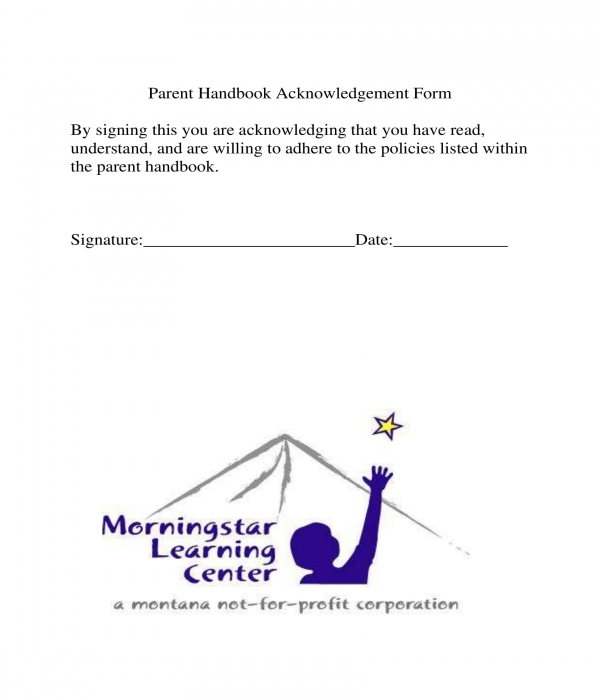 parent handbook acknowledgement form sample