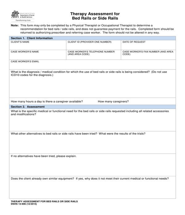 physical therapy bed rails assessment form