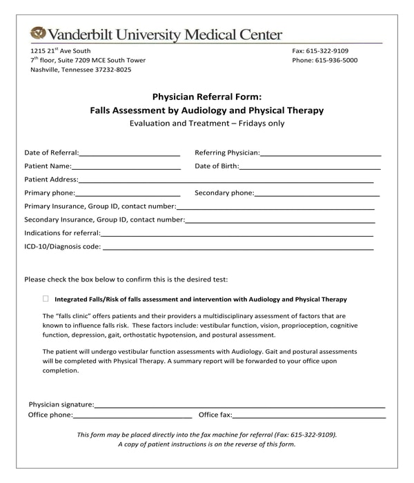 physical therapy falls assessment physician referral form