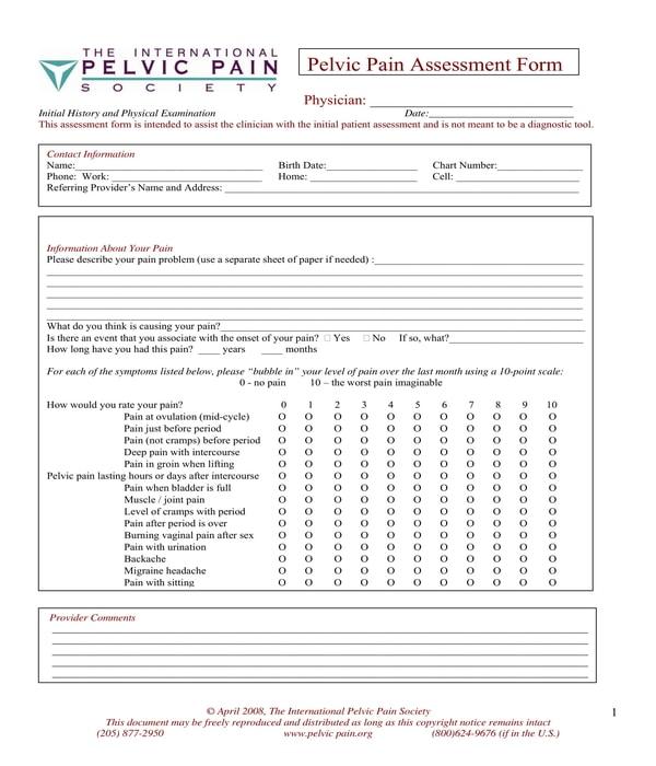physical therapy pelvic pain assessment form