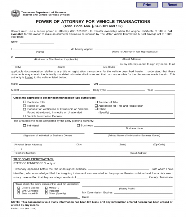 power of attorney for vehicle transactions form