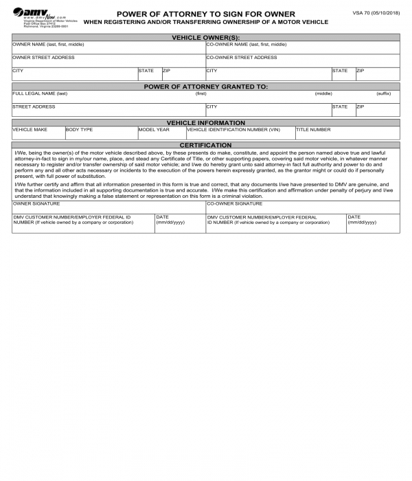 power of attorney to sign for motor vehicle owner form