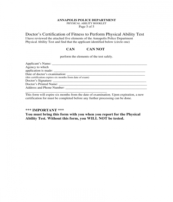 pre employment physical ability test form