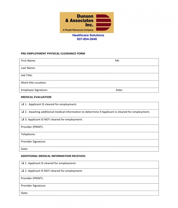 pre employment physical clearance form