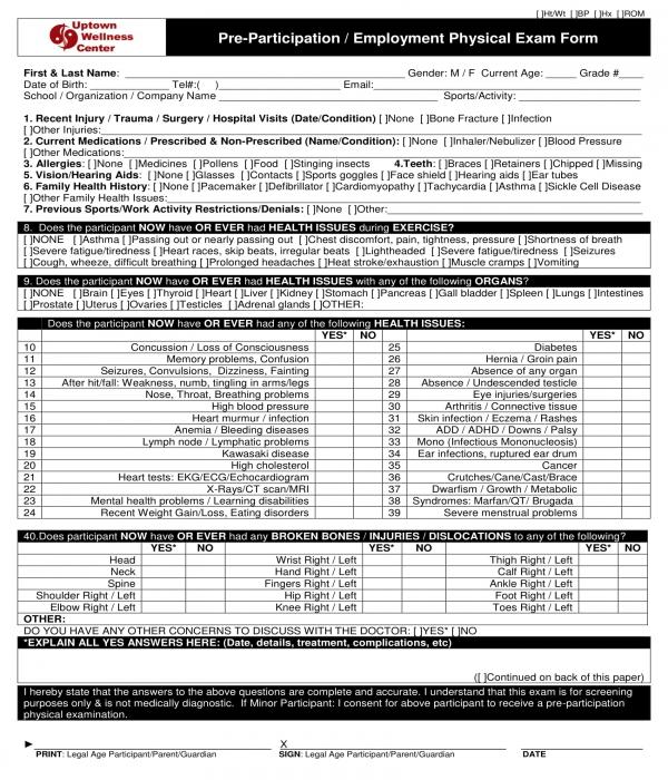pre employment physical exam form