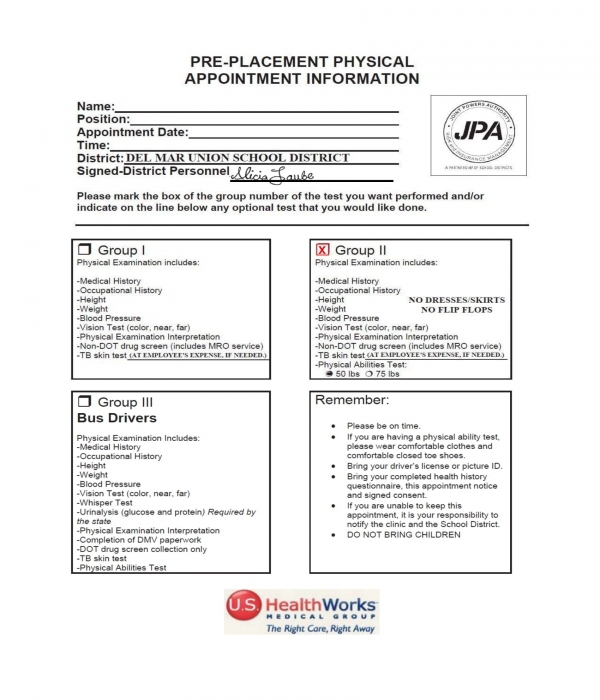 pre employment physical information form