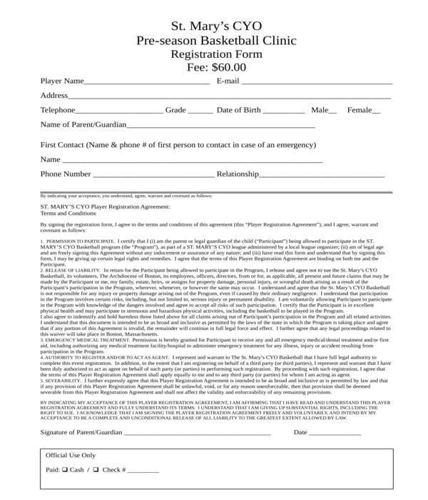 pre season basketball clinic registration form