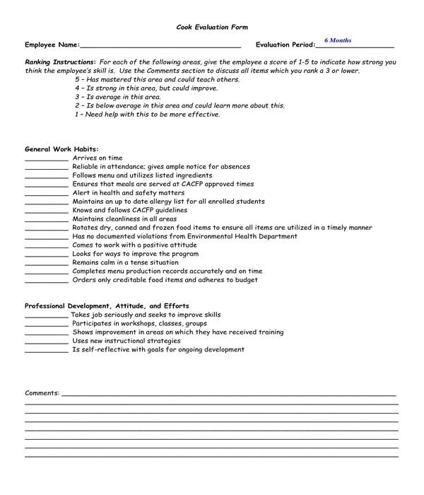 restaurant cook evaluation form