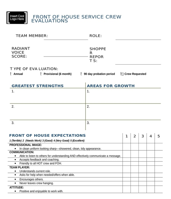 restaurant front of house crew evaluation form