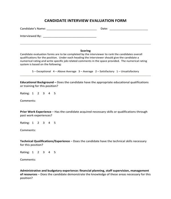 restaurant job candidate interview evaluation form