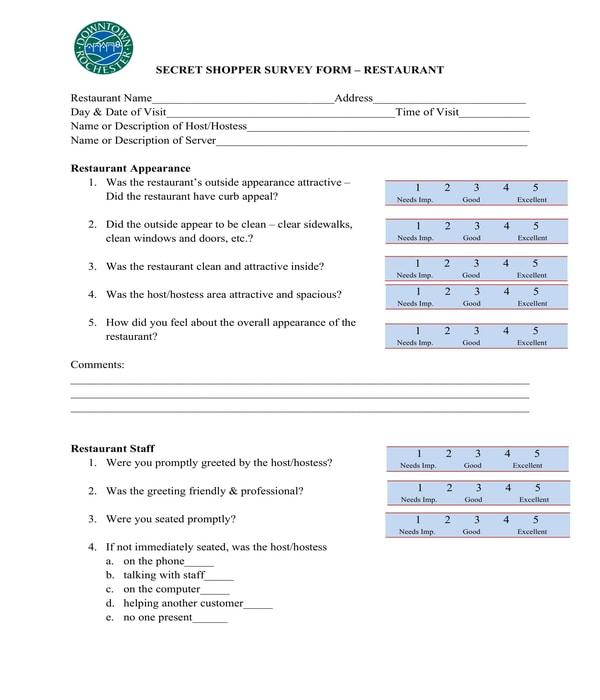 restaurant secret shopper survey evaluation form