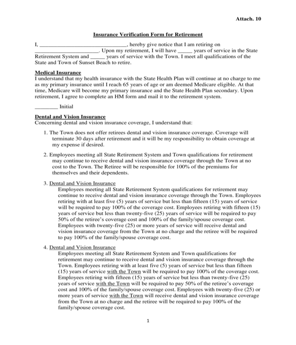 retirement dental insurance verification form