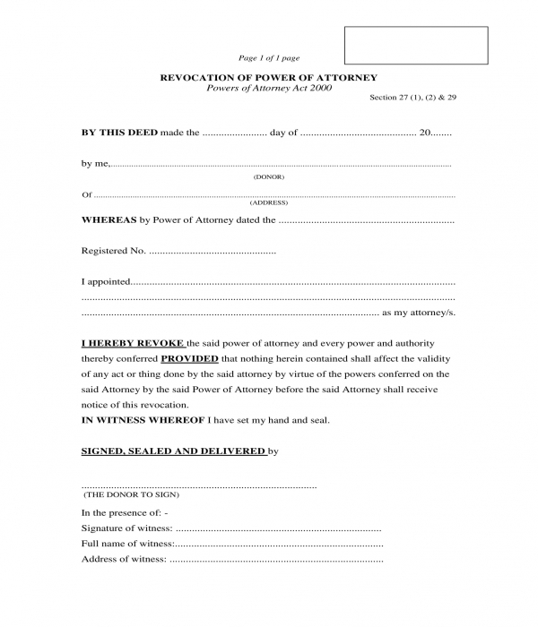revocation of power of attorney form sample