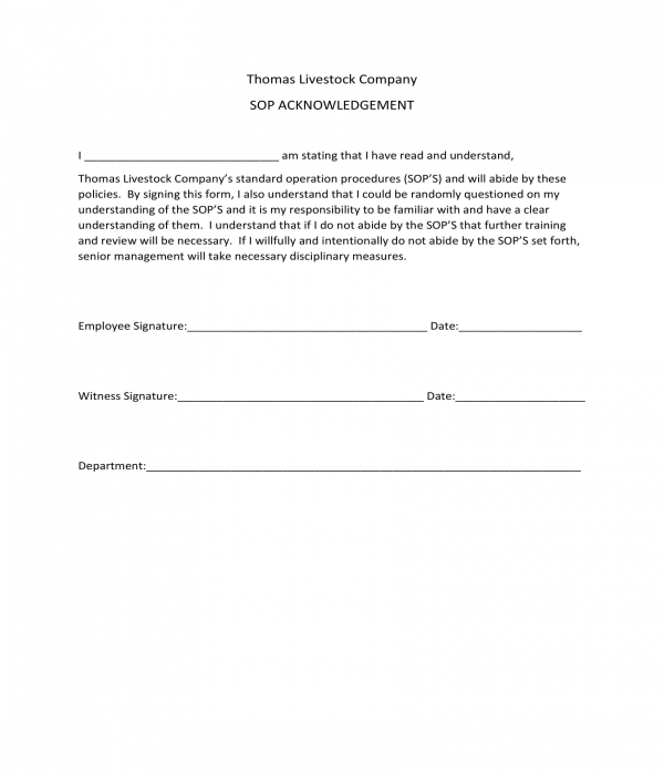 sop acknowledgment form sample
