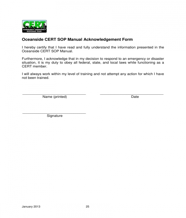 sop manual acknowledgement form