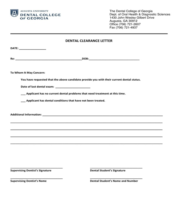 school dental clearance form