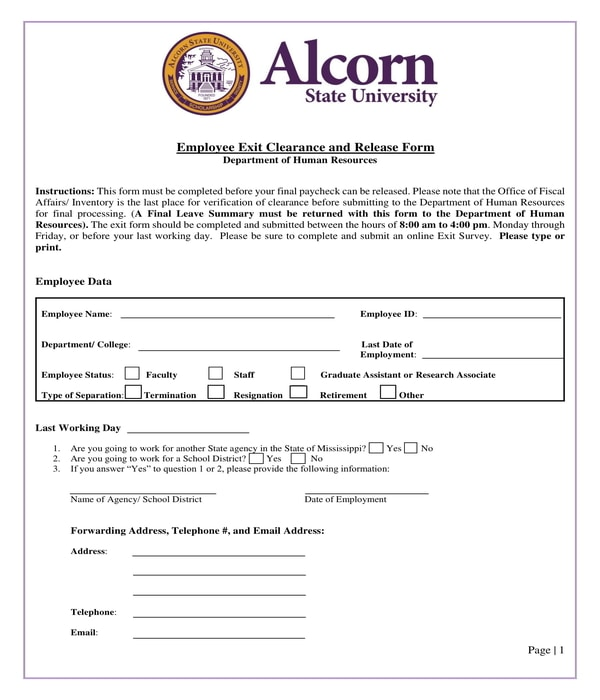 school employee exit clearance and release form