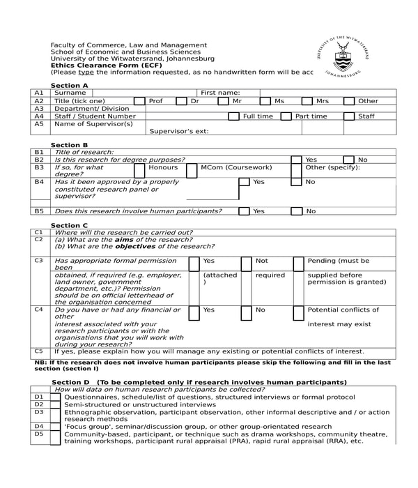 school ethics clearance form