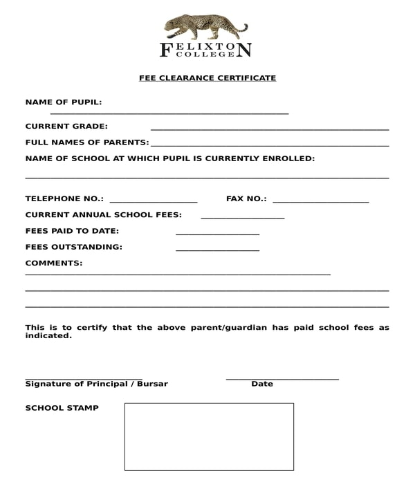 school fee clearance certificate form