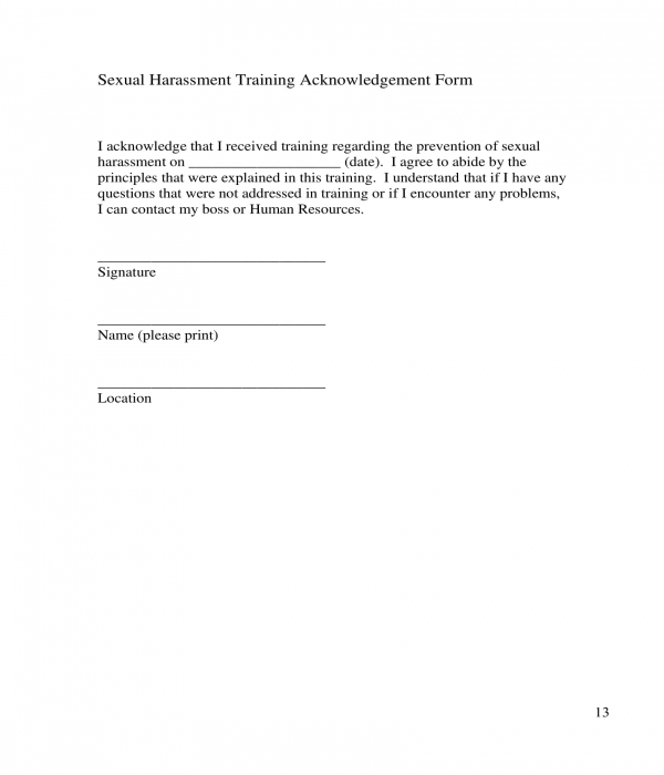 sexual harassment training acknowledgement form