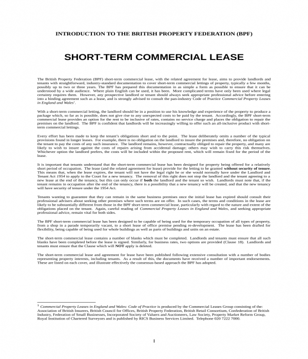 short term commercial lease agreement form