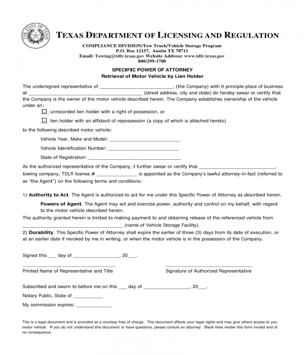 specific power of attorney for vehicle retrieval form