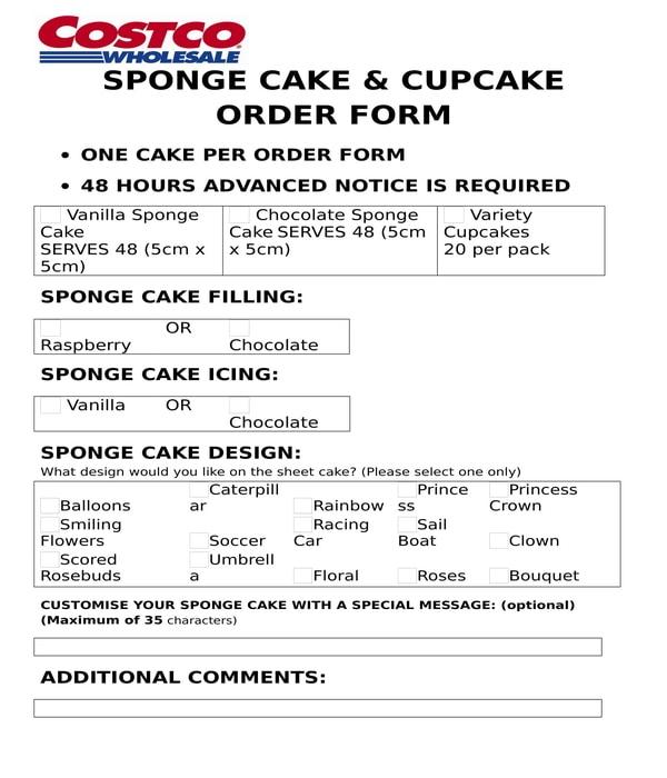 sponge cake and cupcake order form