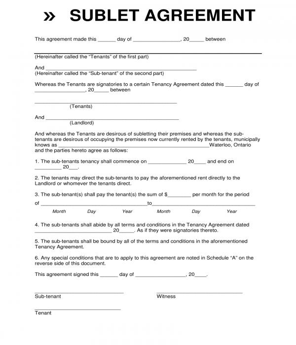 standard sublet agreement form