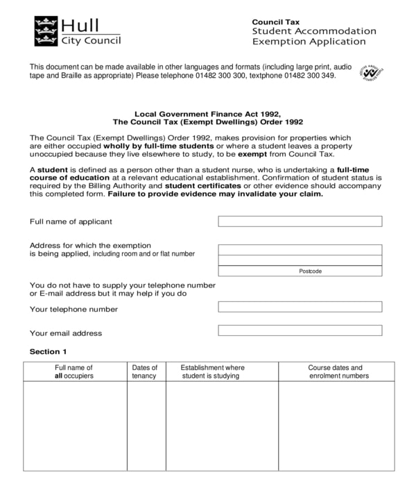 student accommodation exemption application form