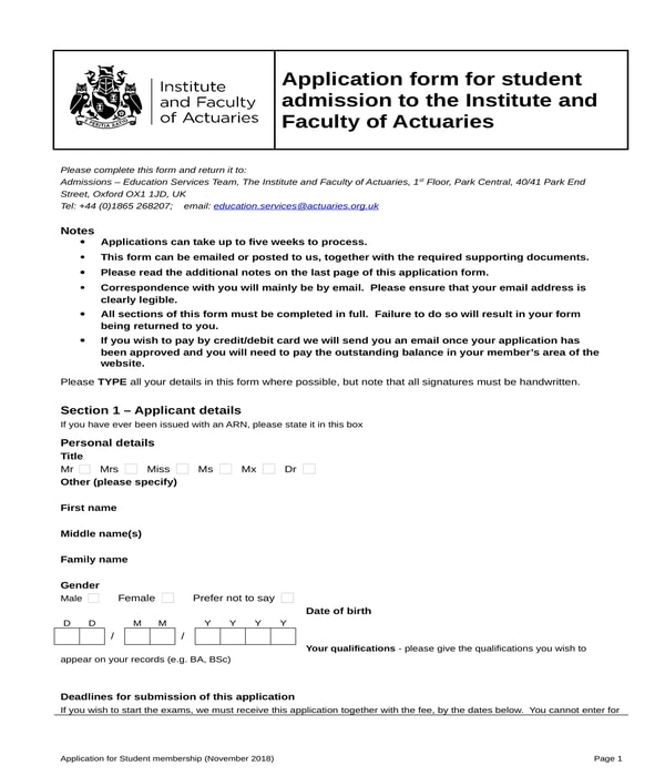 student application form in doc