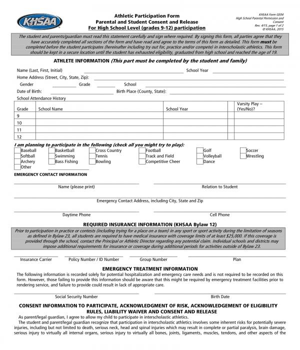 student athlete information form