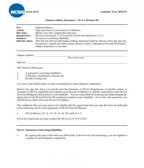 student athlete statement form