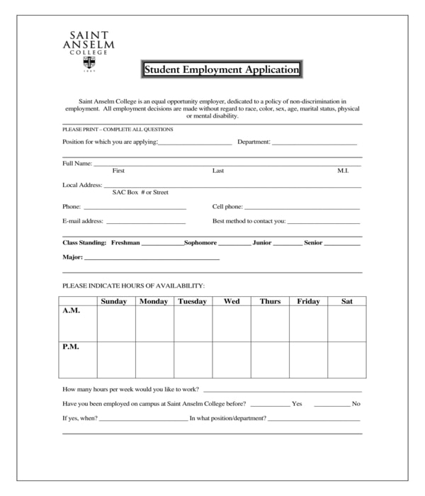 student employment application form1