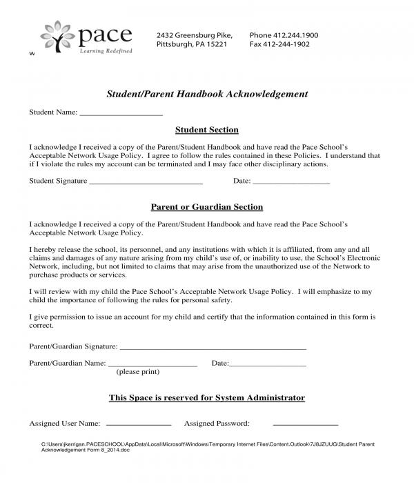 student parent handbook acknowledgment form