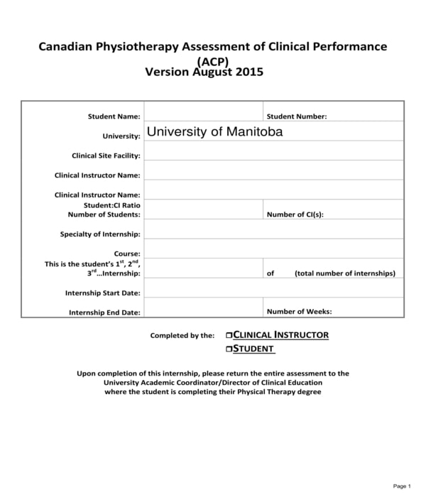 student physical therapy assessment form