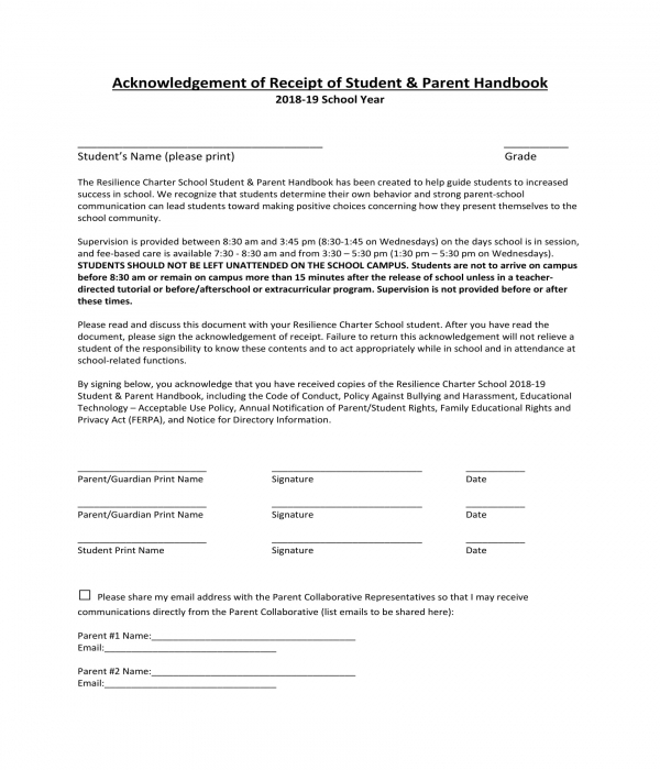 student receipt and parent handbook acknowledgment form