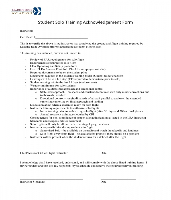 student solo training acknowledgement form