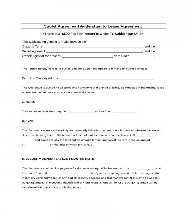sublet agreement addendum form
