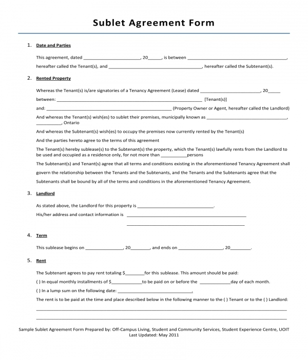 3 Sublet Agreement Forms Pdf Doc