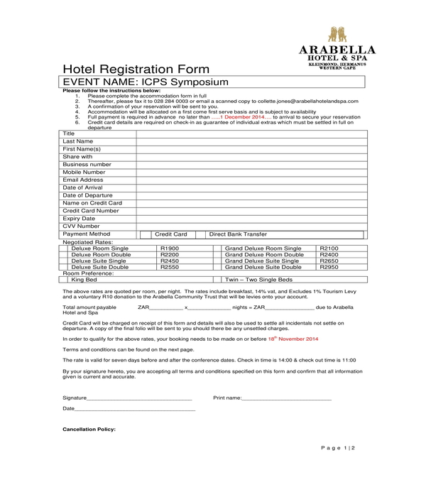 symposium hotel guest registration form