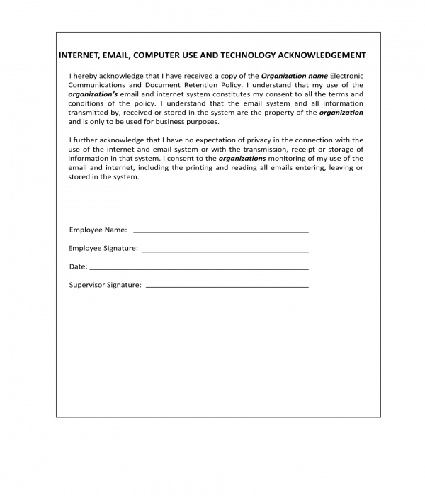 technology policy acknowledgement form