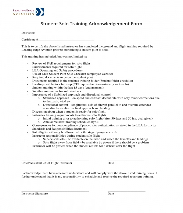 training acknowledgment form in doc