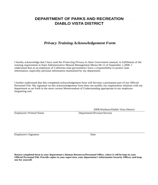 training acknowledgment form in xls