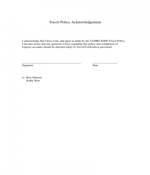 travel policy acknowledgement form