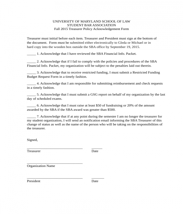 treasurer policy acknowledgement form
