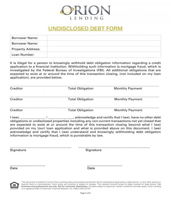 undisclosed debt acknowledgment form