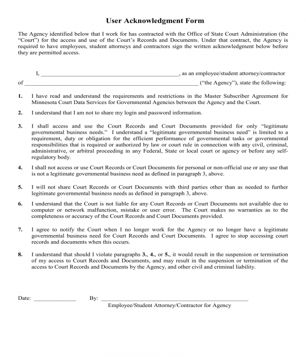 user acknowledgment form sample