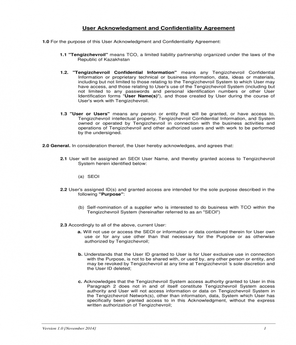 user acknowledgment and confidentiality agreement form